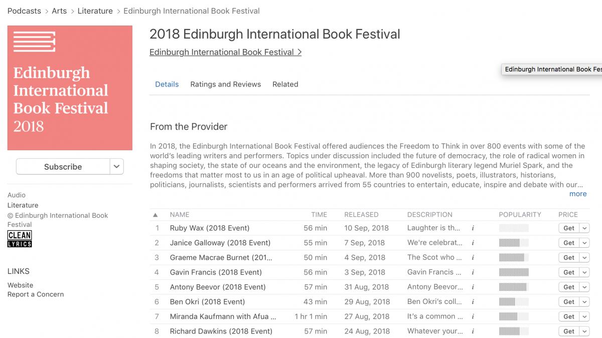 Edinburgh International Book Festival podcasts on iTunes