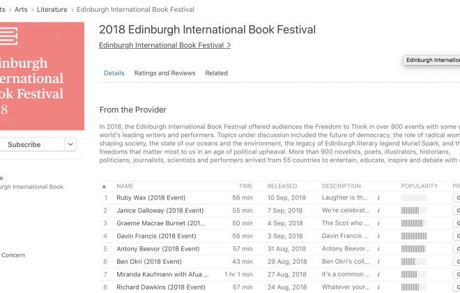 Edinburgh International Book Festival podcasts on iTunes