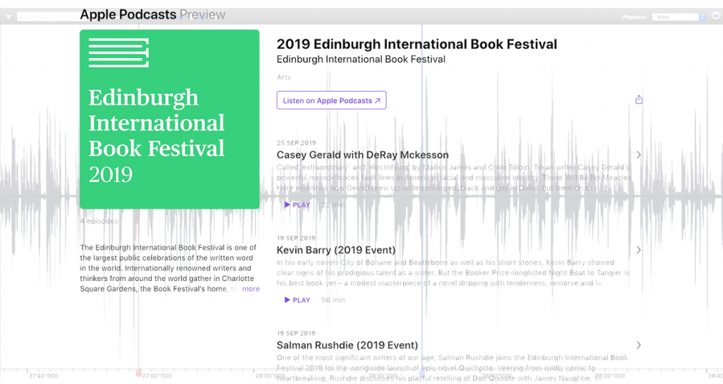 Edinburgh International Book Festival podcasts 2019
