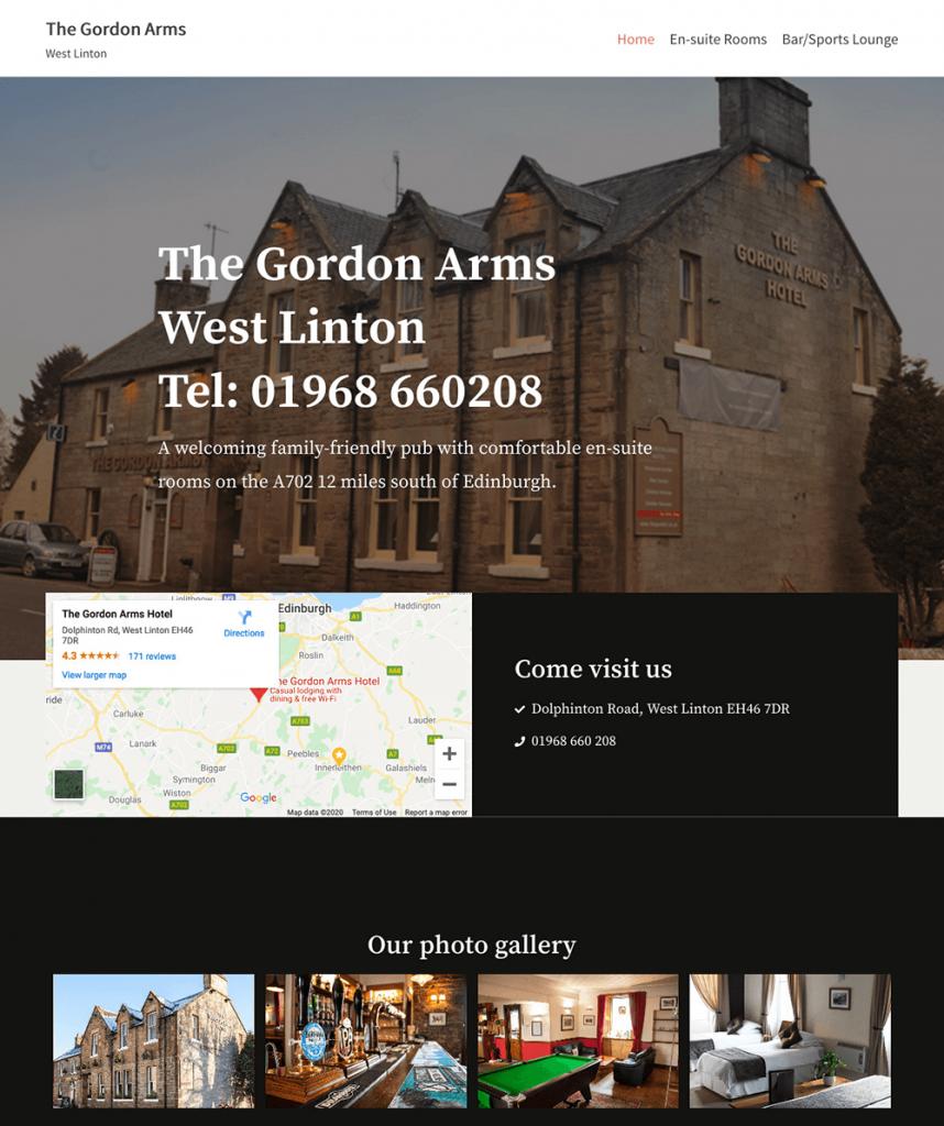 The Gordon Arms West Linton website
