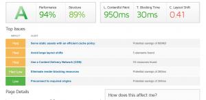 Optimised website load time